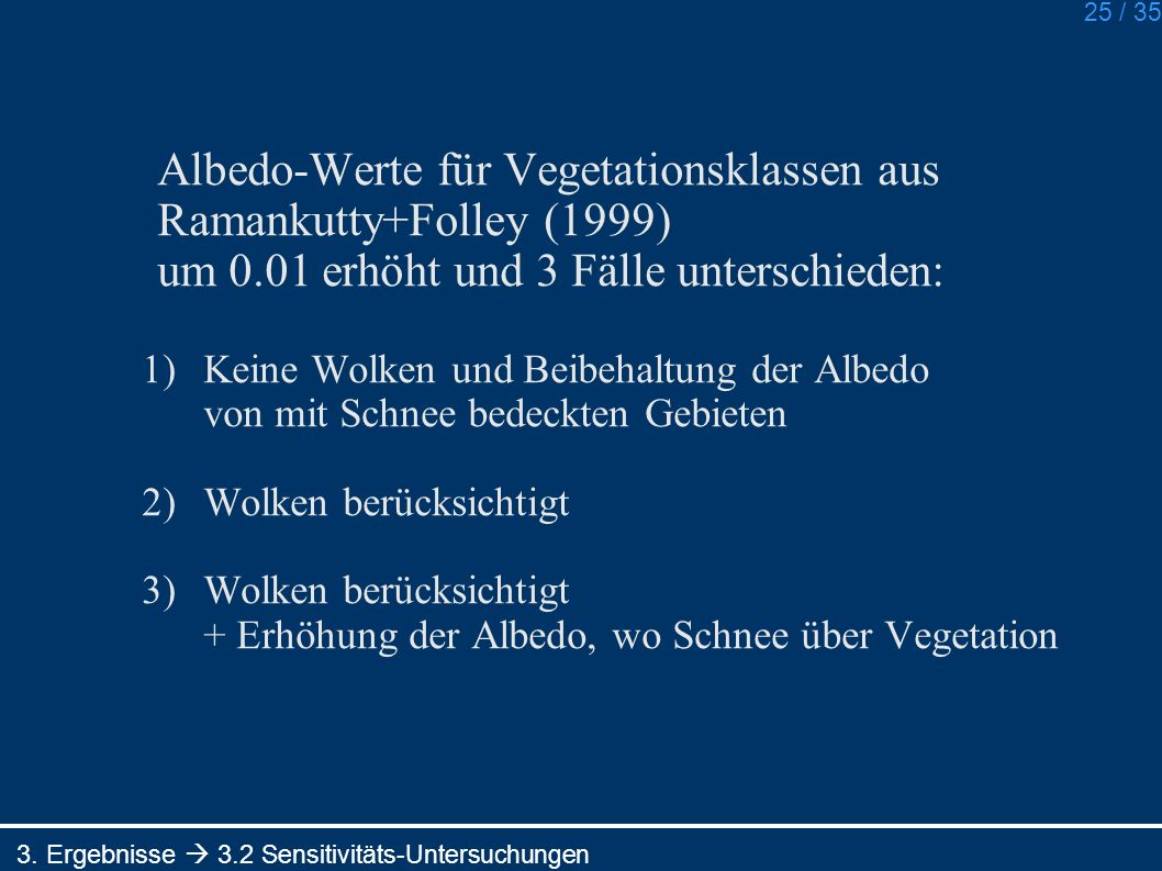 Albedo-Werte für Vegetationsklassen aus Ramankutty+Folley (1999)
