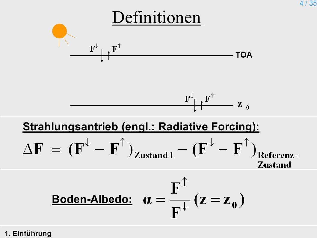Definitionen Strahlungsantrieb (engl.: Radiative Forcing):