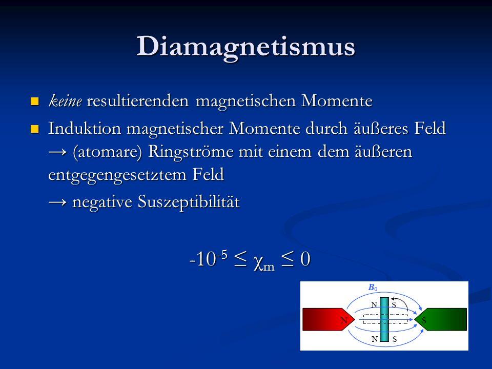 Diamagnetismus -10-5 ≤ χm ≤ 0