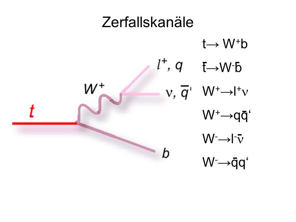 Zerfallskanäle t→ W+b t→W-b W+→l+n W+→qq' W-→l-n W-→qq' - - - - -