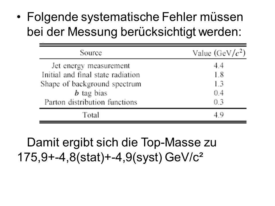 Folgende systematische Fehler müssen bei der Messung berücksichtigt werden: