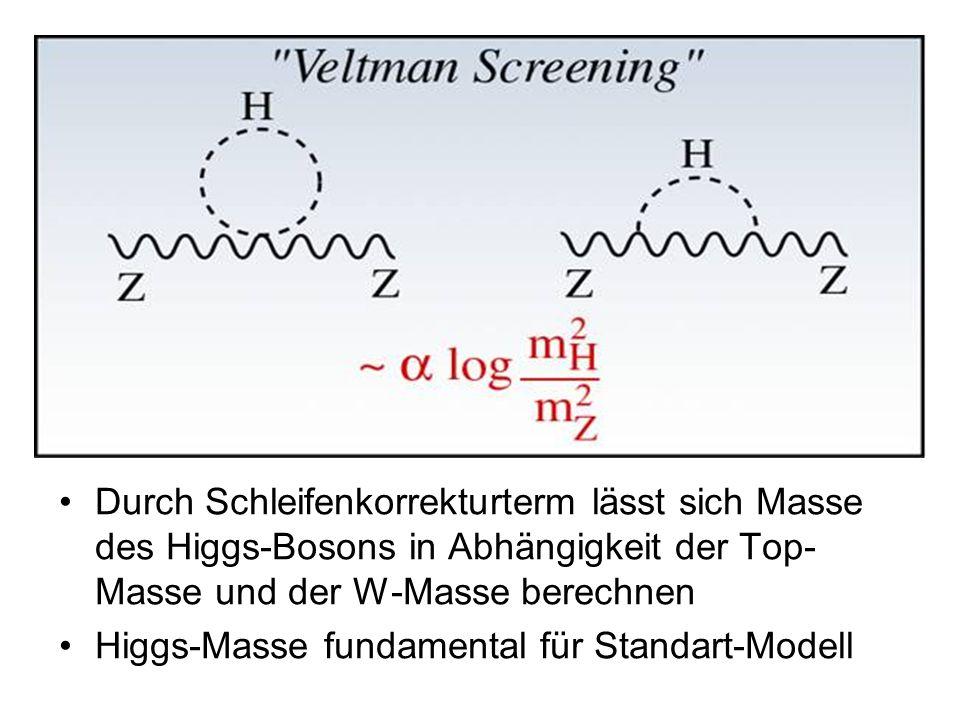 Durch Schleifenkorrekturterm lässt sich Masse des Higgs-Bosons in Abhängigkeit der Top-Masse und der W-Masse berechnen