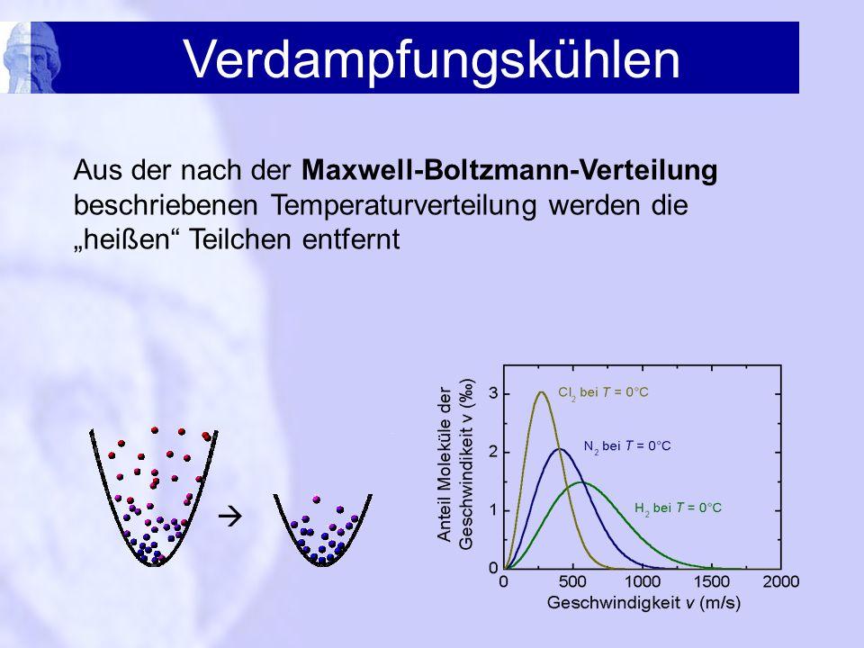 """Verdampfungskühlen Aus der nach der Maxwell-Boltzmann-Verteilung beschriebenen Temperaturverteilung werden die """"heißen Teilchen entfernt."""