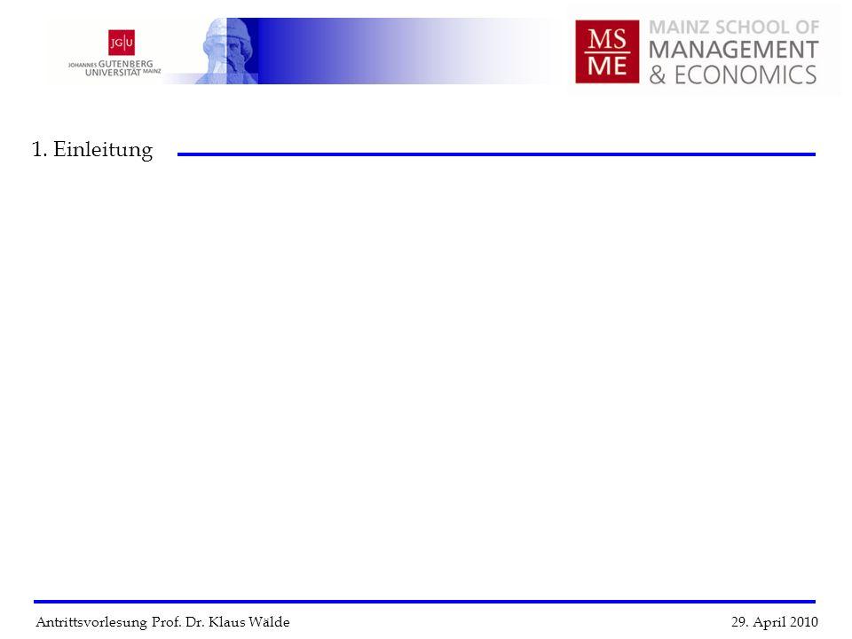 1. Einleitung Antrittsvorlesung Prof. Dr. Klaus Wälde 29. April 2010