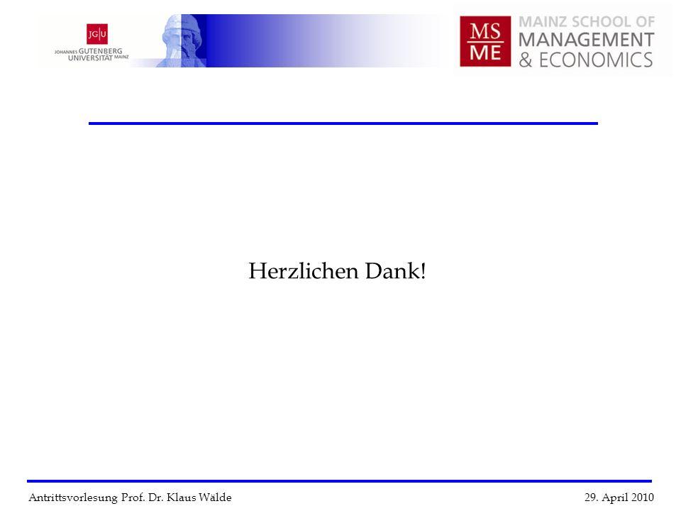 Herzlichen Dank! Antrittsvorlesung Prof. Dr. Klaus Wälde 29. April 2010