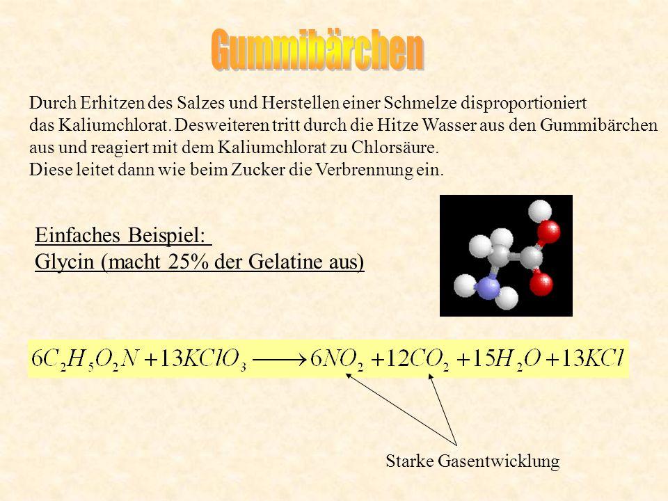 Gummibärchen Einfaches Beispiel: Glycin (macht 25% der Gelatine aus)
