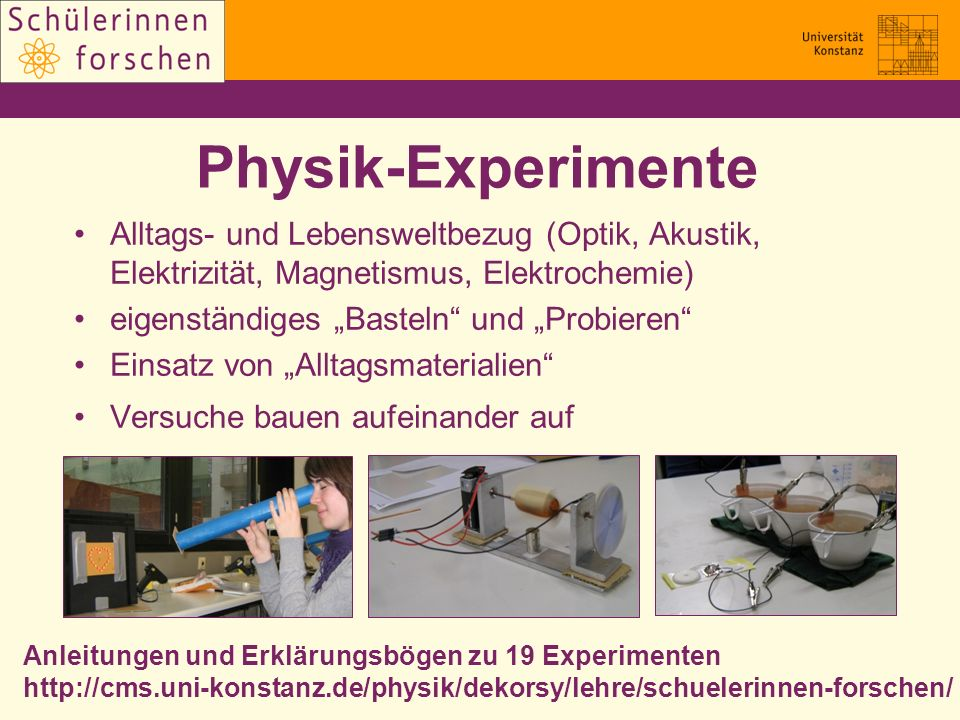 Physik-Experimente Alltags- und Lebensweltbezug (Optik, Akustik, Elektrizität, Magnetismus, Elektrochemie)