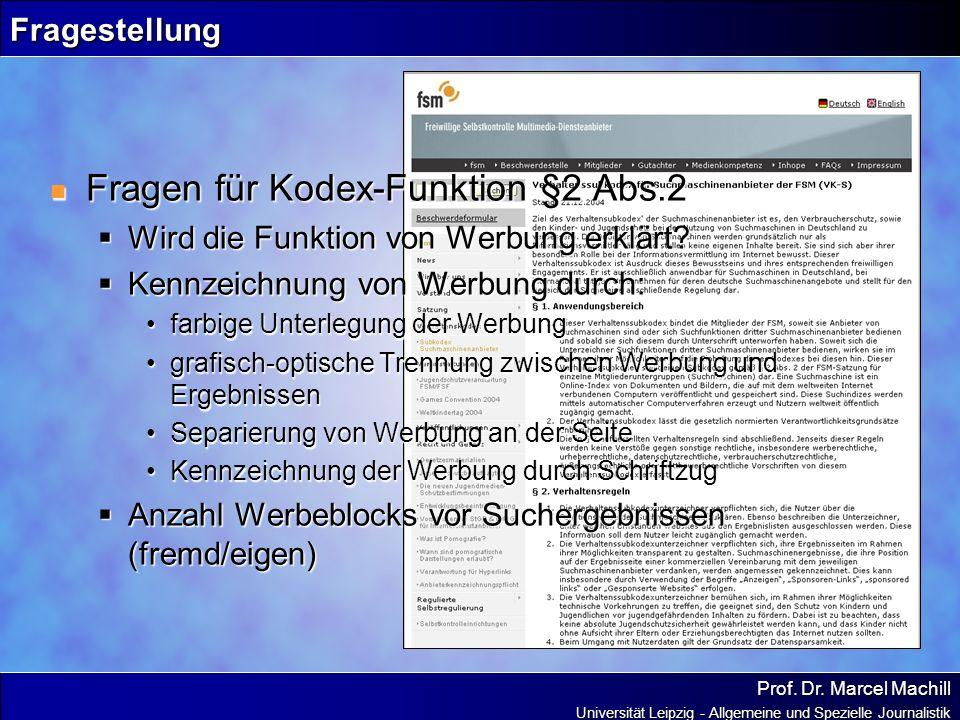 Fragen für Kodex-Funktion §2 Abs.2