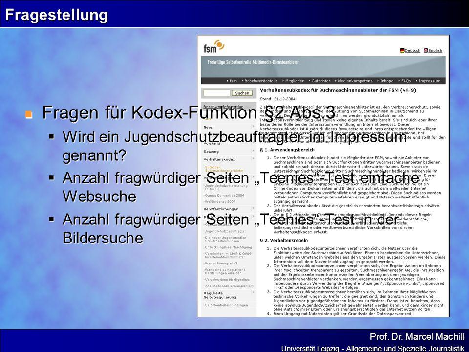 Fragen für Kodex-Funktion §2 Abs.3