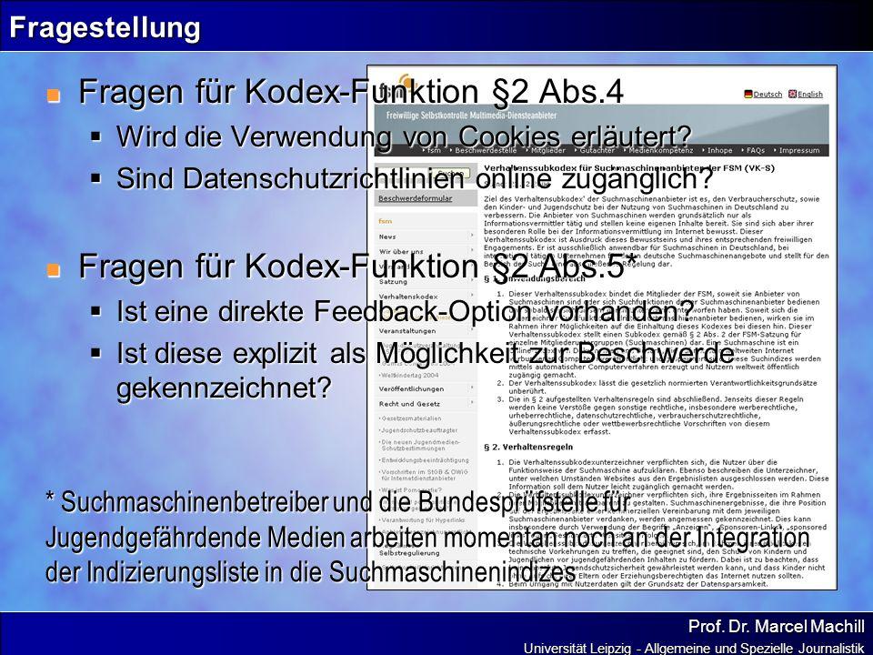 Fragen für Kodex-Funktion §2 Abs.4