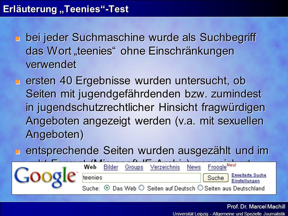 """Erläuterung """"Teenies -Test"""