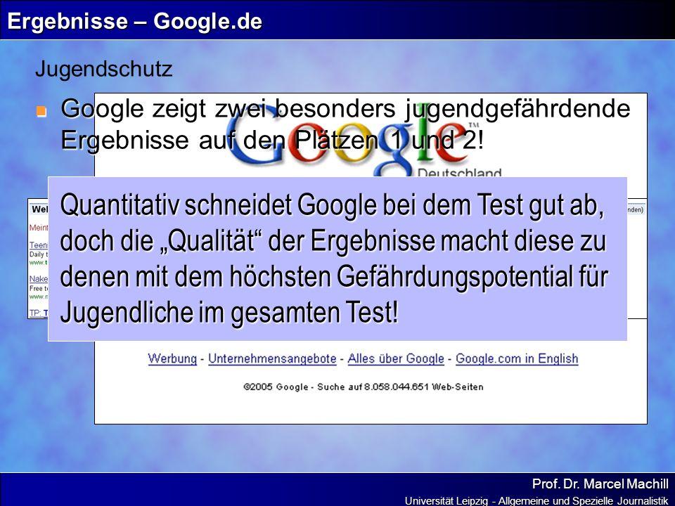 Ergebnisse – Google.deJugendschutz. Google zeigt zwei besonders jugendgefährdende Ergebnisse auf den Plätzen 1 und 2!