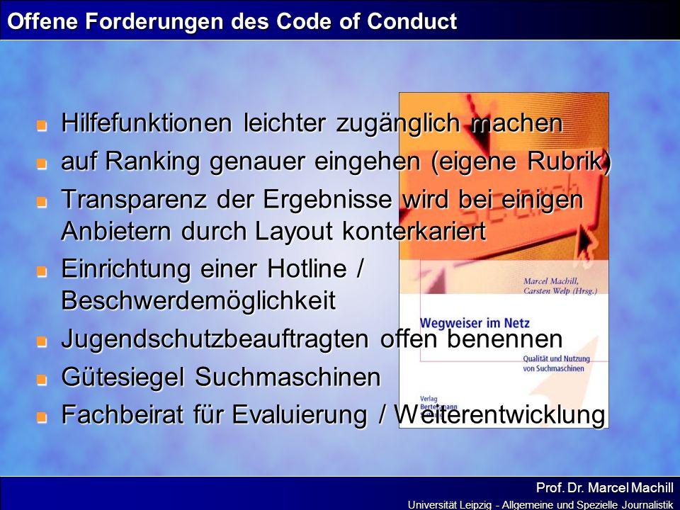 Offene Forderungen des Code of Conduct