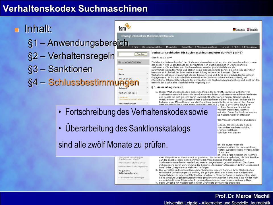 Verhaltenskodex Suchmaschinen