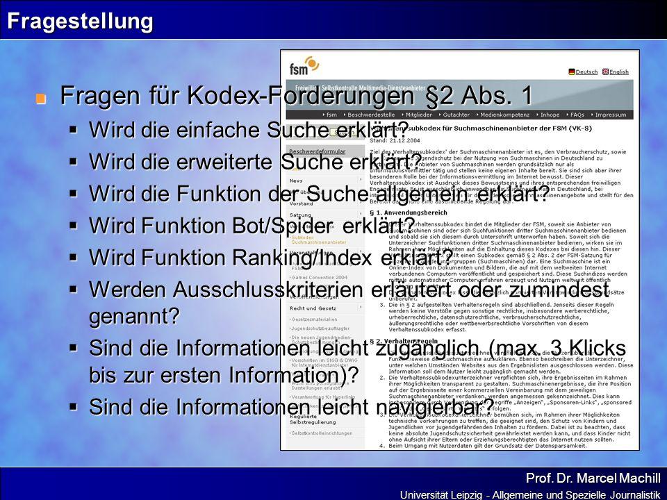 Fragen für Kodex-Forderungen §2 Abs. 1