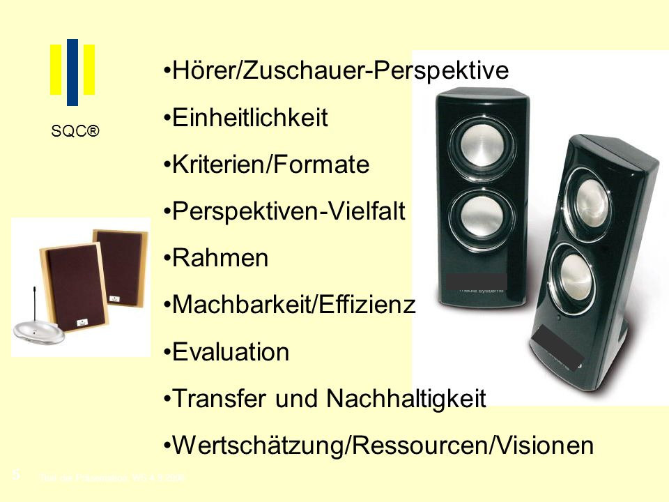 Hörer/Zuschauer-Perspektive Einheitlichkeit Kriterien/Formate