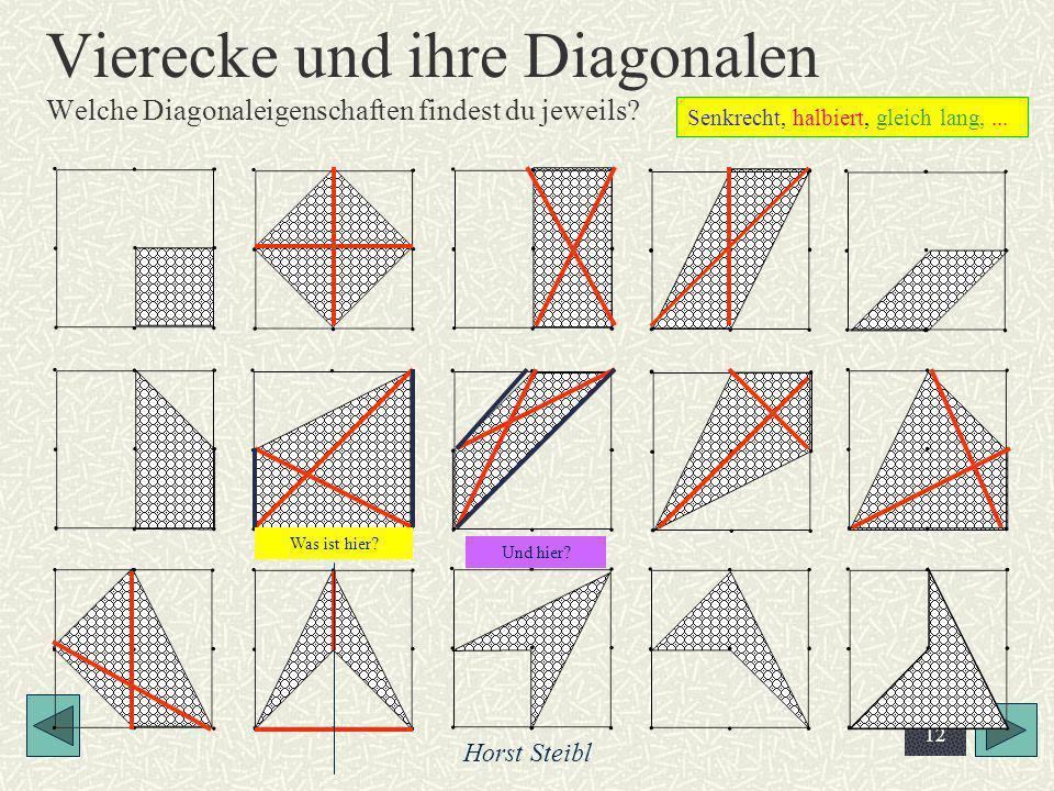 Vierecke und ihre Diagonalen Welche Diagonaleigenschaften findest du jeweils