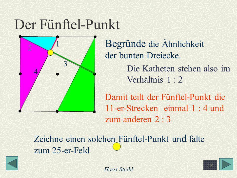 Der Fünftel-Punkt Begründe die Ähnlichkeit der bunten Dreiecke.