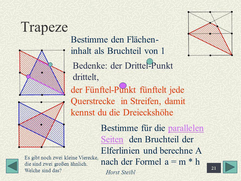 Trapeze Bestimme den Flächen-inhalt als Bruchteil von 1