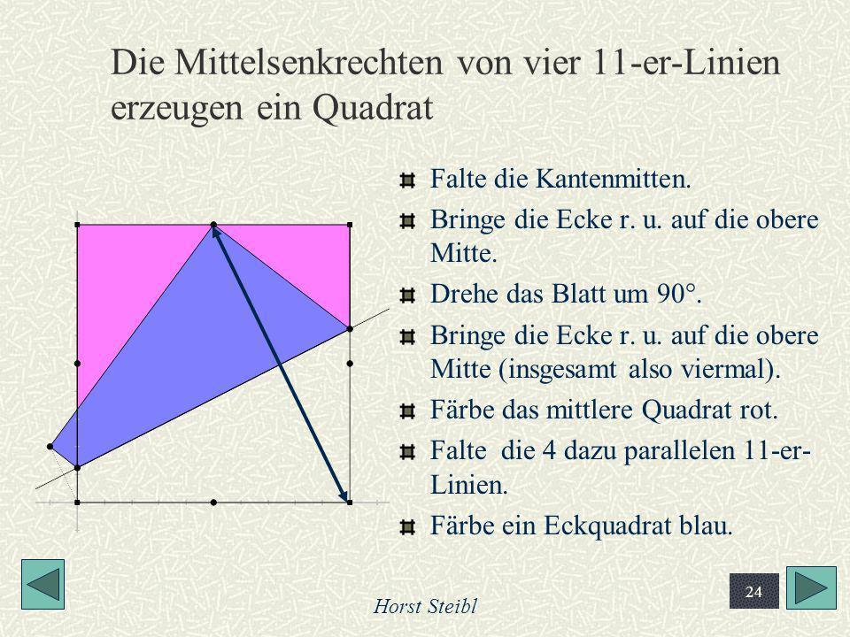 Die Mittelsenkrechten von vier 11-er-Linien erzeugen ein Quadrat