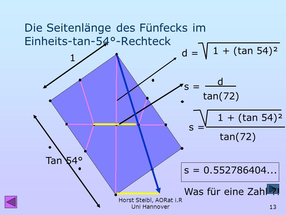 Die Seitenlänge des Fünfecks im Einheits-tan-54°-Rechteck