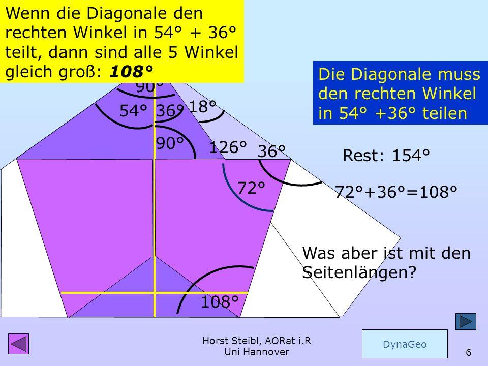 Wenn die Diagonale den rechten Winkel in 54° + 36° teilt, dann sind alle 5 Winkel gleich groß: 108°