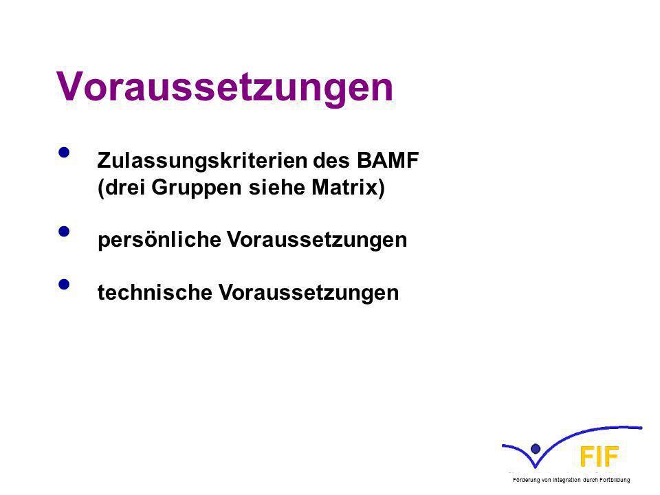 Voraussetzungen Zulassungskriterien des BAMF (drei Gruppen siehe Matrix) persönliche Voraussetzungen.