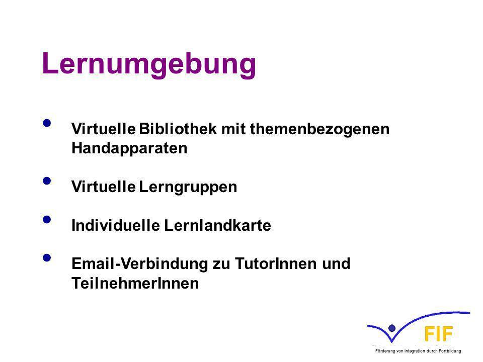 Lernumgebung Virtuelle Bibliothek mit themenbezogenen Handapparaten