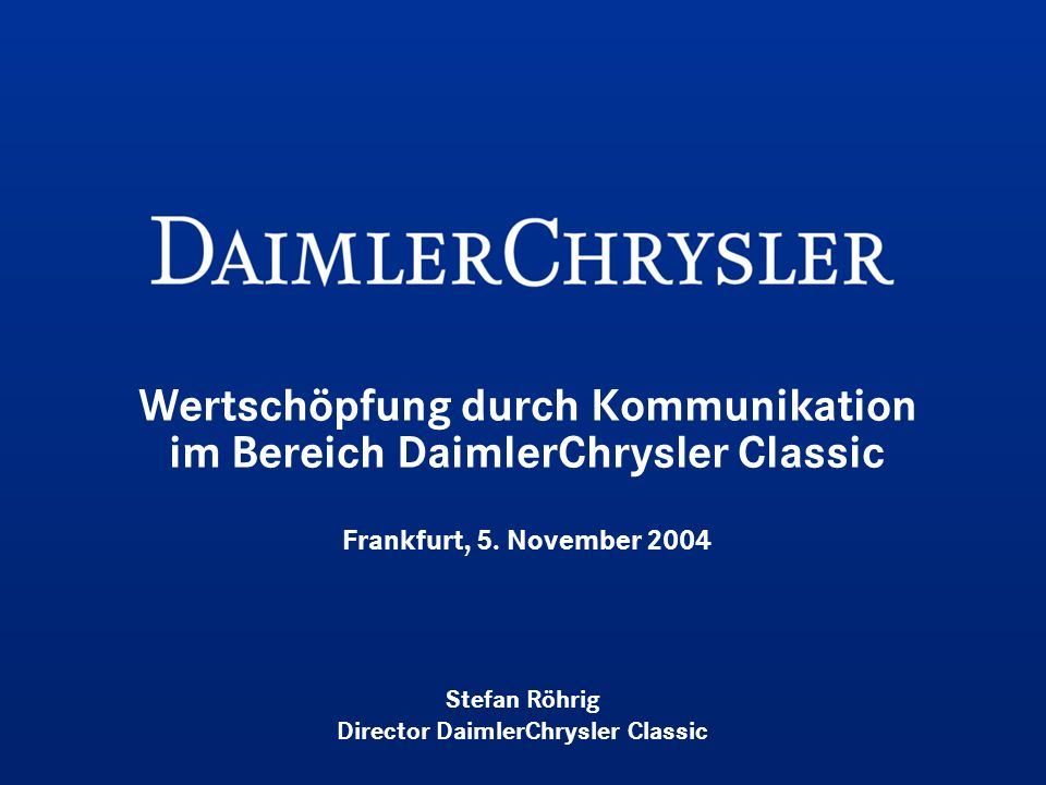 Stefan Röhrig Director DaimlerChrysler Classic