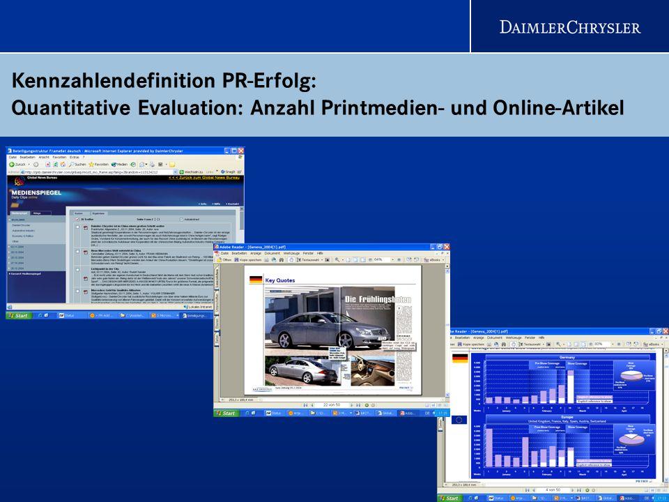 Kennzahlendefinition PR-Erfolg: Quantitative Evaluation: Anzahl Printmedien- und Online-Artikel