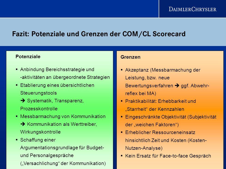 Fazit: Potenziale und Grenzen der COM/CL Scorecard