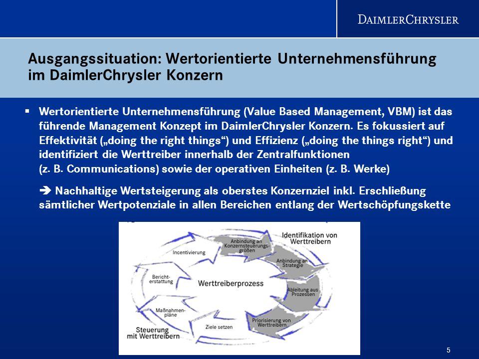 Ausgangssituation: Wertorientierte Unternehmensführung im DaimlerChrysler Konzern