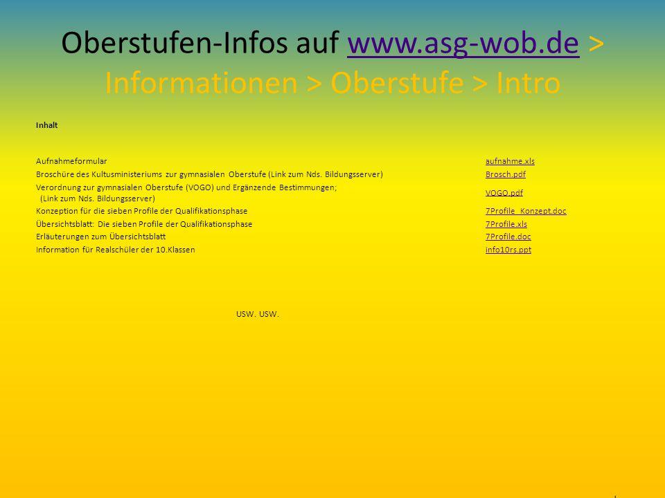 Oberstufen-Infos auf www. asg-wob