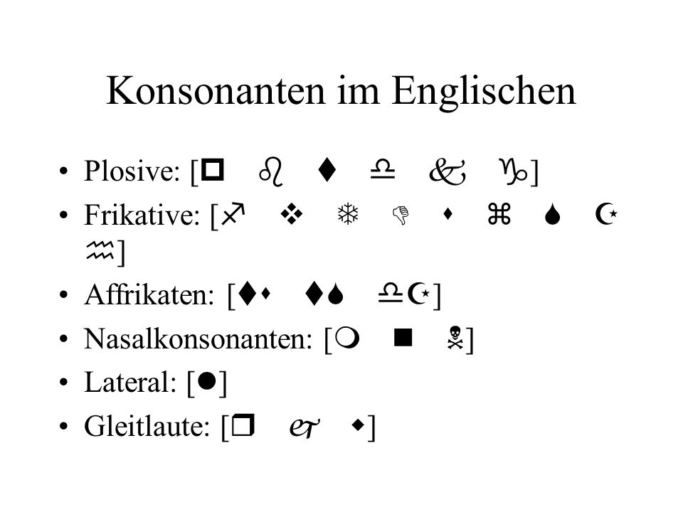 Konsonanten im Englischen