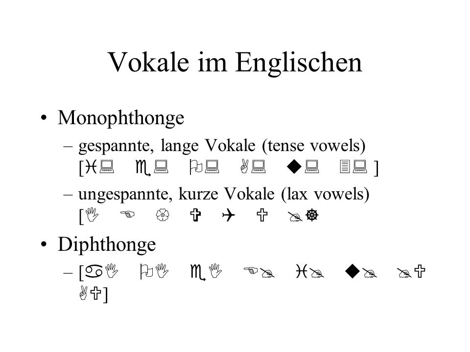 Vokale im Englischen Monophthonge Diphthonge