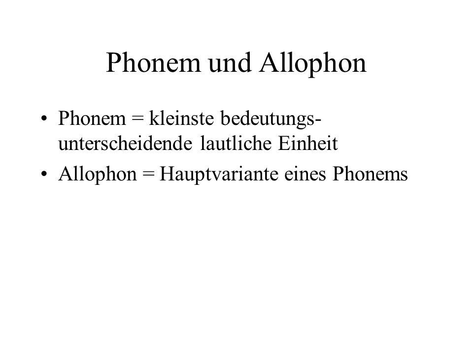 Phonem und Allophon Phonem = kleinste bedeutungs-unterscheidende lautliche Einheit. Allophon = Hauptvariante eines Phonems.