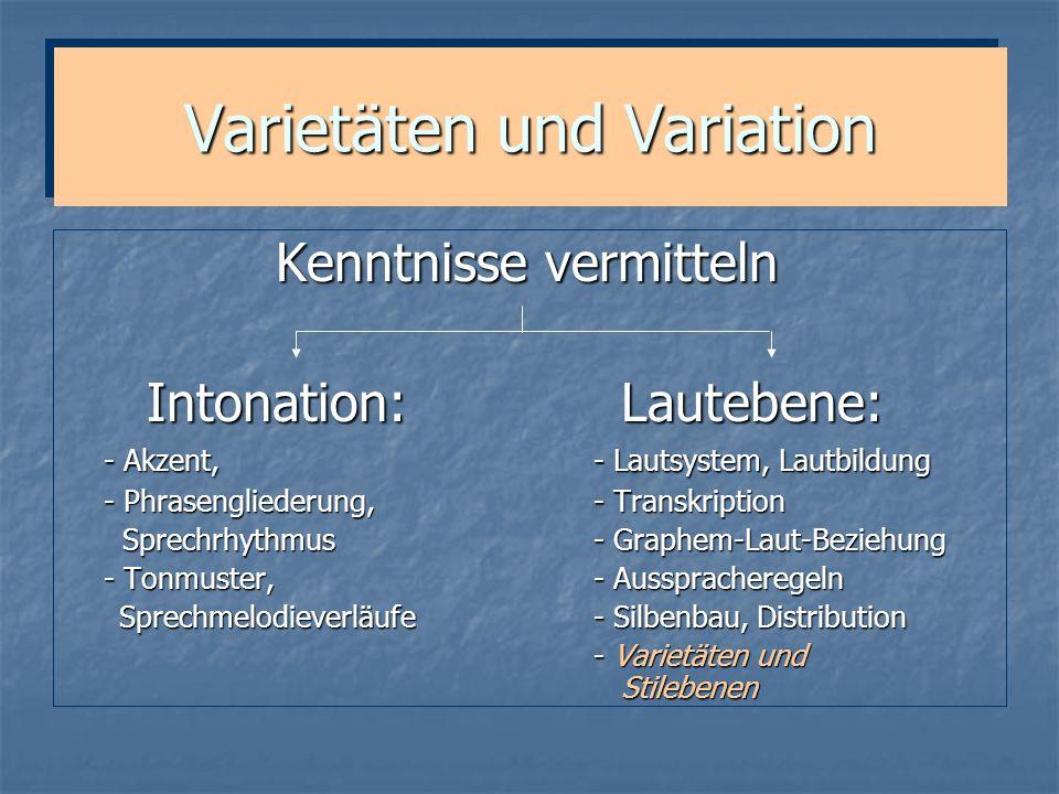 Varietäten und Variation
