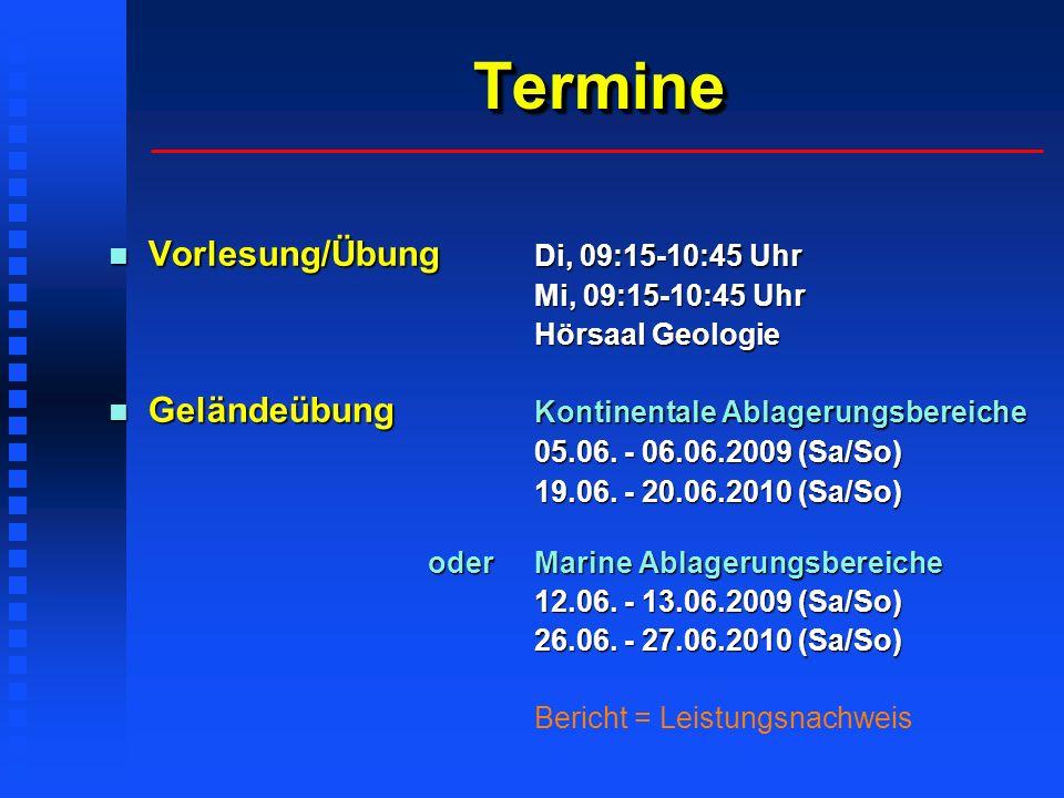 Termine Vorlesung/Übung Di, 09:15-10:45 Uhr