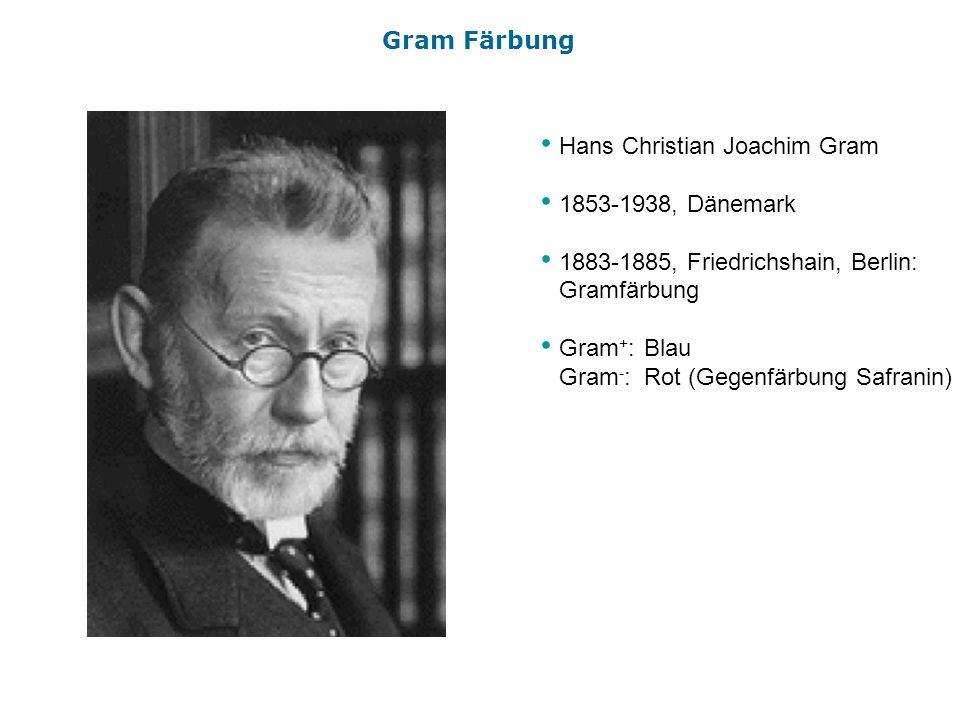 Gram FärbungHans Christian Joachim Gram. 1853-1938, Dänemark. 1883-1885, Friedrichshain, Berlin: Gramfärbung.