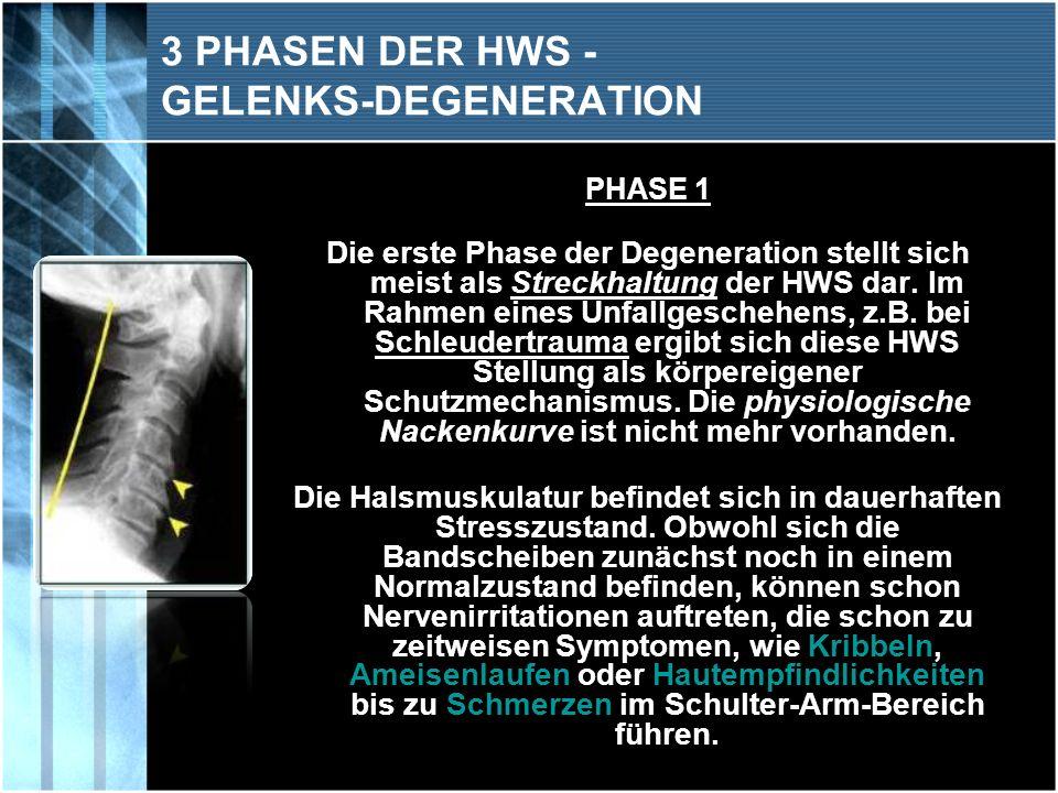 3 PHASEN DER HWS - GELENKS-DEGENERATION
