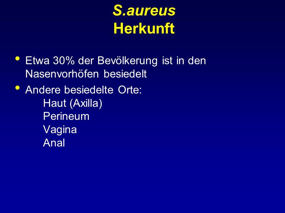 S.aureus Herkunft Etwa 30% der Bevölkerung ist in den Nasenvorhöfen besiedelt.