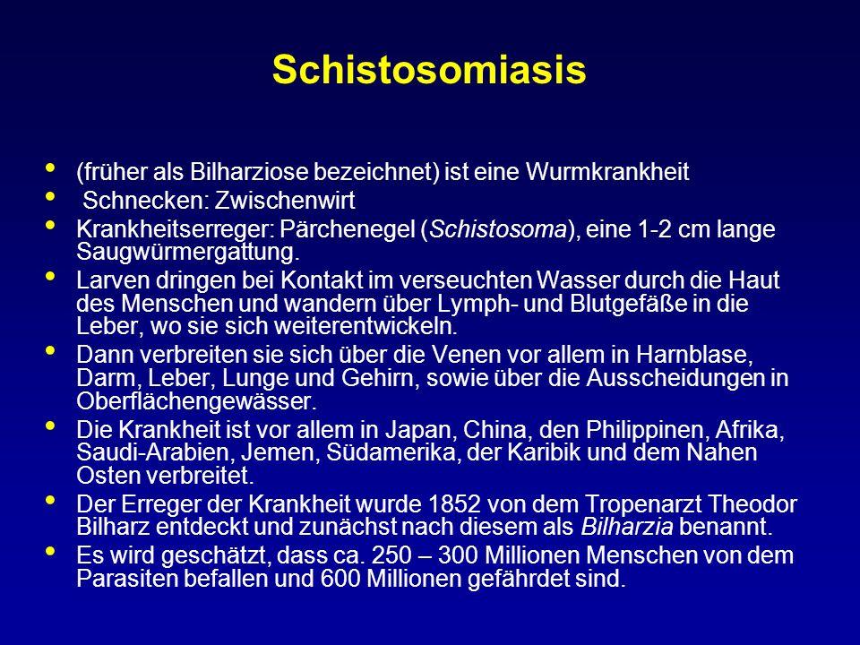 Schistosomiasis (früher als Bilharziose bezeichnet) ist eine Wurmkrankheit. Schnecken: Zwischenwirt.