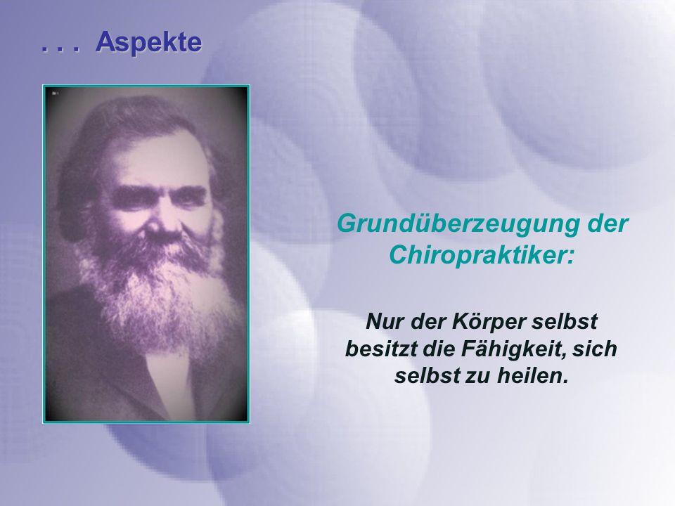 . . . Aspekte Grundüberzeugung der Chiropraktiker:
