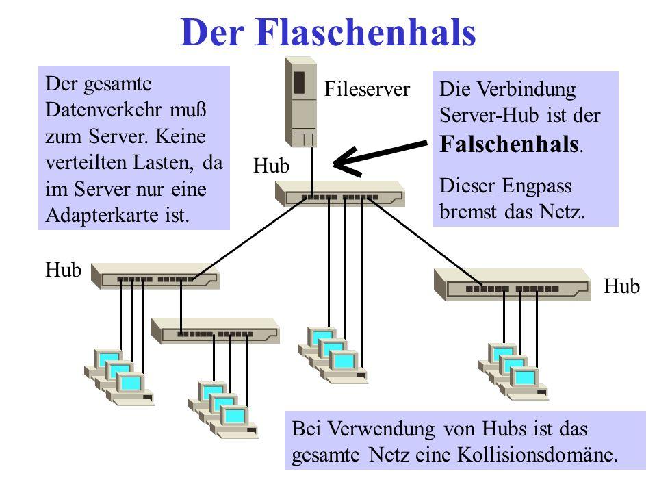 Der Flaschenhals Der gesamte Datenverkehr muß zum Server. Keine verteilten Lasten, da im Server nur eine Adapterkarte ist.
