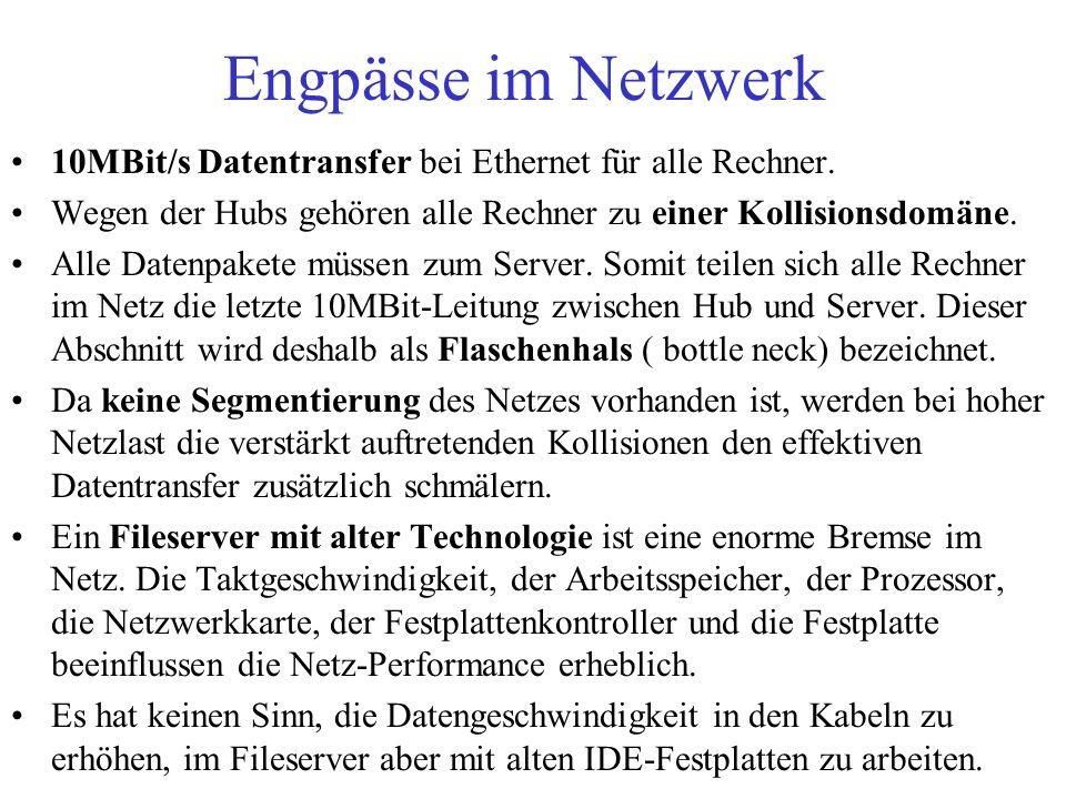 Engpässe im Netzwerk 10MBit/s Datentransfer bei Ethernet für alle Rechner. Wegen der Hubs gehören alle Rechner zu einer Kollisionsdomäne.