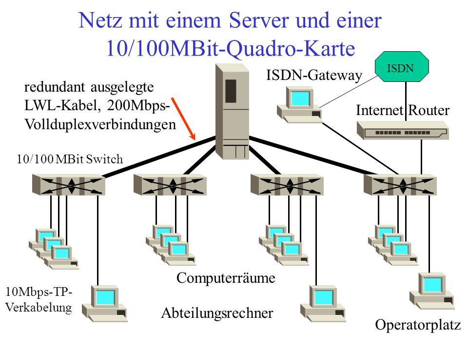 Netz mit einem Server und einer 10/100MBit-Quadro-Karte