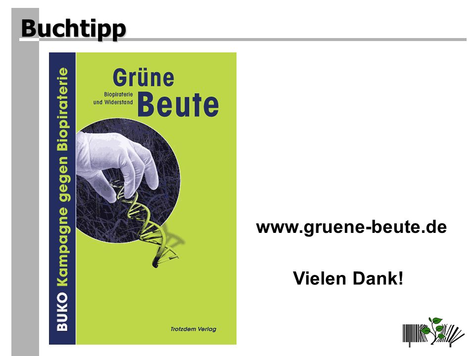 Buchtipp www.gruene-beute.de Vielen Dank!