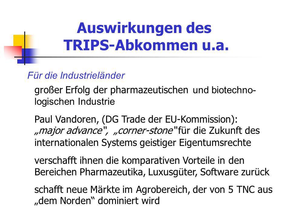 Auswirkungen des TRIPS-Abkommen u.a.