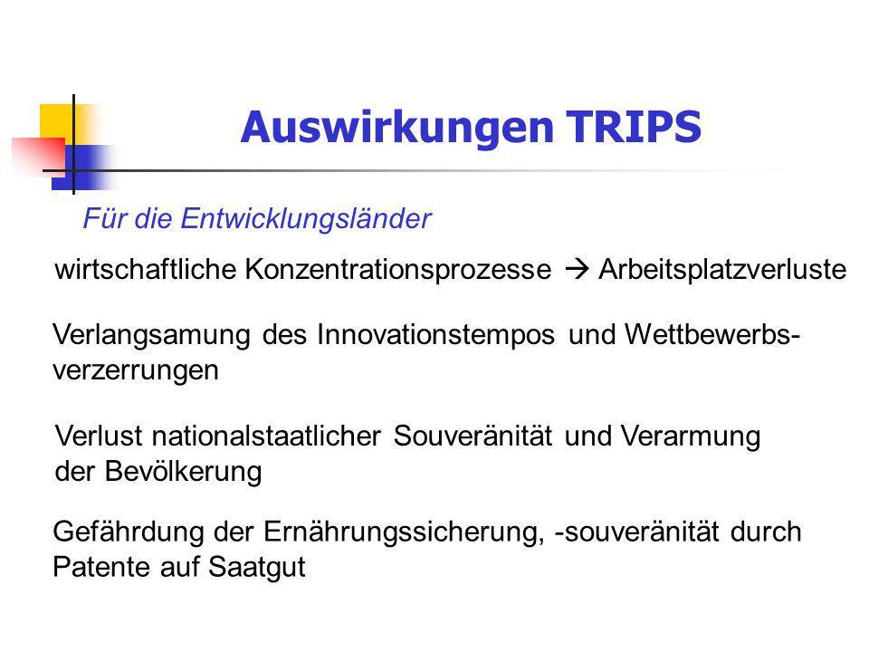 Auswirkungen TRIPS Für die Entwicklungsländer
