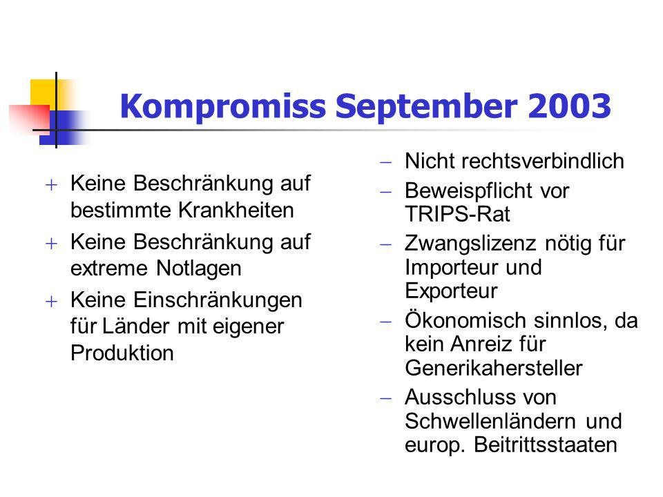 Kompromiss September 2003 Nicht rechtsverbindlich